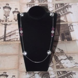 LOFT Pink Silver Tone Necklace Crystal Clusters